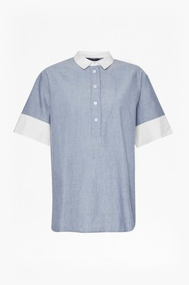 French Connection Kyra Cotton Embroidered Short Sleeve Shirt