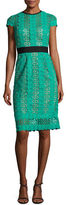 Catherine Deane Short-Sleeve Circle Lace Sheath Dress