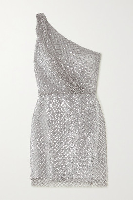 Mason by Michelle Mason One-shoulder Sequined Mesh And Silk Mini Dress - Silver