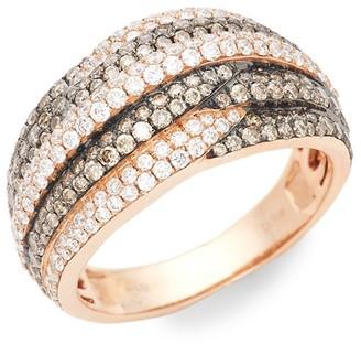 LeVian Chocolatier 14K Strawberry Gold, Chocolate Diamond Vanilla Diamond Band Ring