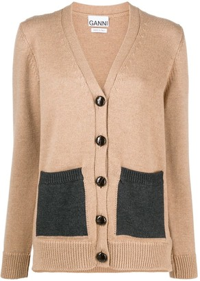Ganni Contrast Pocket Cardigan