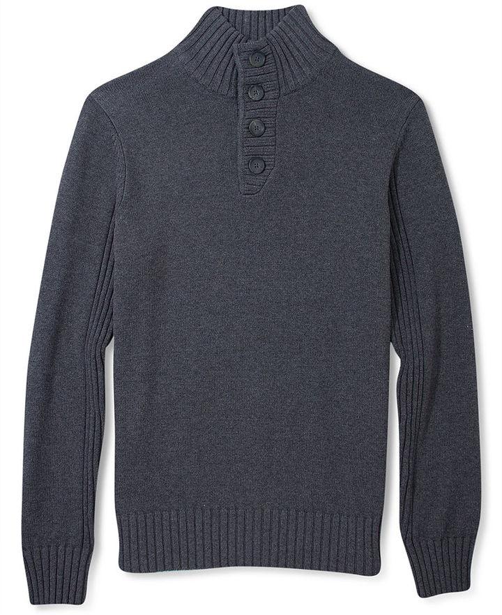 Sean John Sweater, Button Down Mock Sweater