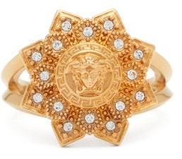 Versace Medusa-head And Flower Crystal Ring - Womens - Gold