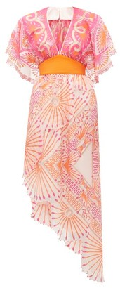 Zandra Rhodes Mexican Circle-print Silk-chiffon Dress - Womens - Pink Print