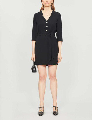 Claudie Pierlot Rabane tie-belt crepe mini dress