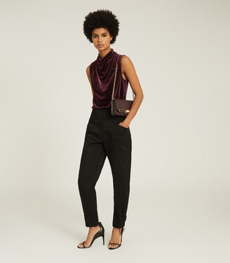 Reiss Lola - High Neck Sleeveless Top in Berry