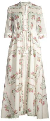 Tory Burch Floral-Print Drawstring Shirt Dress