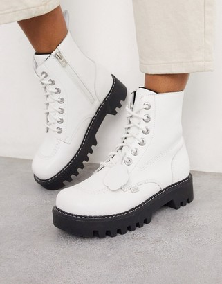 Kickers Kizziie cleated ankle boots in white