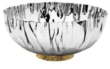 Classic Touch Stainless Steel Crumpled Bowl with Gold-Tone Mosaic Base
