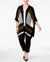 Alfani Plus Size Colorblocked Poncho Cape, Created for Macy's
