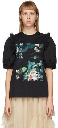 MONCLER GENIUS 4 Moncler Simone Rocha Black Floral Print Puff Sleeve T-Shirt