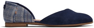 Toms Navy Suede and Classic Plaid Women's Julie D'Orsay Flats