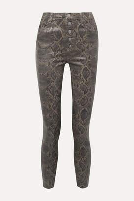 J Brand Lillie Cropped Coated Snake-print Skinny Jeans - Brown