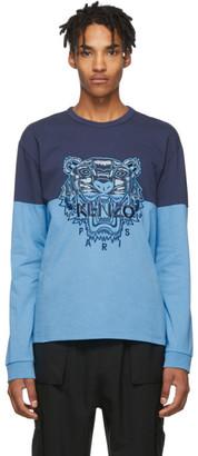 Kenzo Blue Colorblock Tiger Sweatshirt