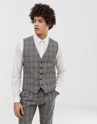 Selected suit waistcoat in grey sand check