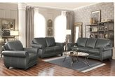 ABBYSON LIVING Kassidy Grey Top Grain Leather Sofa, Loveseat, Armchair, and Ottoman Set