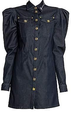 Versace Women's Denim Puff-Sleeve Shirtdress