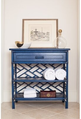 David Francis Furniture Chippendale End Table Color: Navy Blue