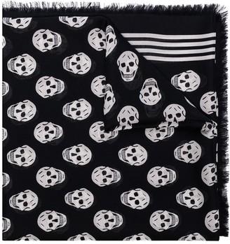 Alexander McQueen Skull-Print Fringe-Edge Scarf