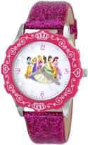 Disney Kids' W000405 Tween Glitz Princess Stainless Steel Pink Bezel Pink Glitter Leather Strap Watch