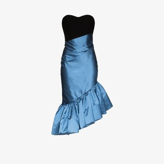 Rasario Contrast Ruffled Midi Dress