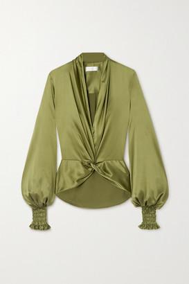 Caroline Constas Bette Twist-front Silk-blend Satin Blouse - Army green