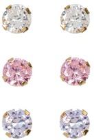 Candela 14K Yellow Gold Multicolor CZ Stud Earrings - Set of 3