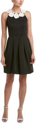 Taylor Dresses Women's Ottoman Fit and Flare Dress with Daisy Applique at Neck