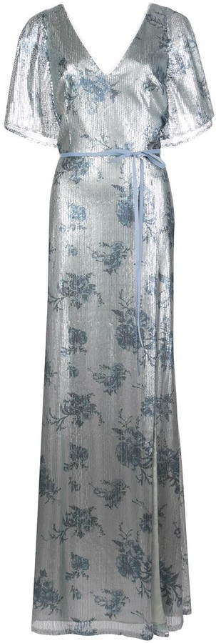 Marchesa bridesmaid floral-printed sequin gown