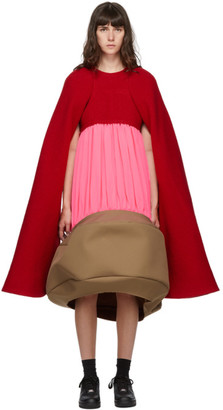 Comme des Garcons Red and Pink Sculptural Dress