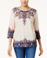 Alfred Dunner Gypsy Moon Lace-Back T-Shirt