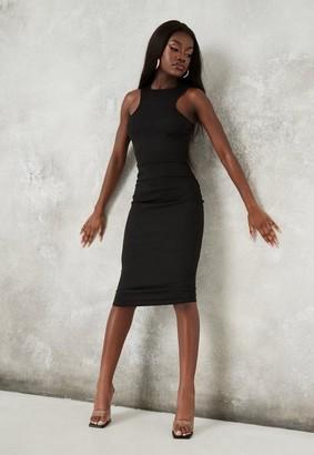 Missguided Black Rib Racer Neck Bodycon Dress