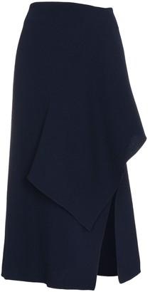 Roland Mouret Draped Wool Asymmetric Midi Skirt