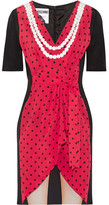 Moschino Lace-trimmed Printed Silk Crepe De Chine Mini Dress - Red