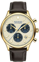 Movado Heritage Series Calendopan Ionic Goldplated Stainless Steel Leather Strap Chronograph Watch
