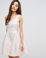 Coast Bridget Jacquard Fit n Flare Dress in Pink