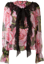 Dolce & Gabbana rose print ruffled blouse - women - Silk - 36