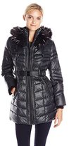 Kensie Women's Matte Satin Belted Down Coat with Faux Fur Hood