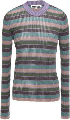McQ Metallic Striped Ribbed-knit Top