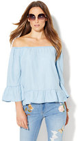 New York & Co. Off-The-Shoulder Blouse - Ultra-Soft Chambray - Light Indigo