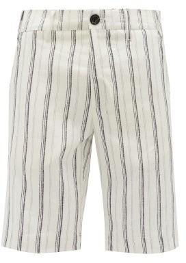 J.w.brine J.w. Brine - Chris Striped Linen Shorts - Black And White