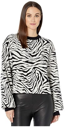 The Kooples Ribbed, Knit, Crew Neck Pullover in a Zebra Print (Black/White) Women's Clothing