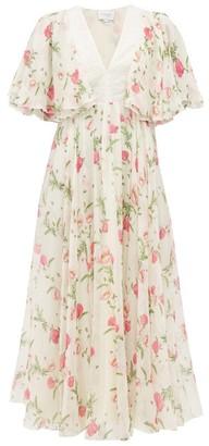 Giambattista Valli Poppy-print Silk-georgette Midi Dress - Womens - Ivory Multi