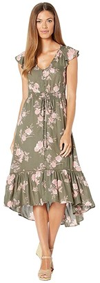 Lucky Brand Felice Dress (Olive Multi) Women's Dress