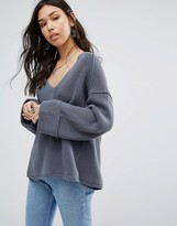 Free People La Brea V-Neck Belle Sweater