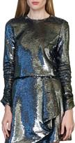 ML Monique Lhuillier Sequin Long Sleeve Blouse