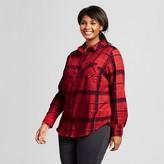 Women's Plus Size Plaid Flannel Shirt with Shine - Ava & Viv