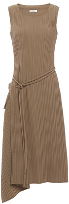 GOEN.J Asymmetric Draped Plisse-twill Midi Dress