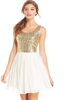 B. Darlin Juniors' Sequin Pleated A-Line Dress