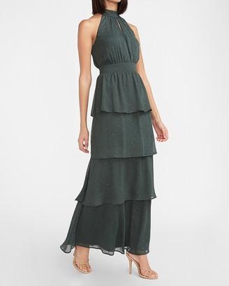 Express Metallic Clip Dot Ruffle Tiered Halter Maxi Dress